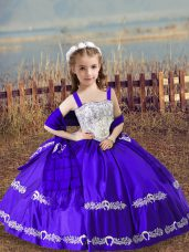 Straps Sleeveless Satin Kids Formal Wear Beading and Embroidery Lace Up