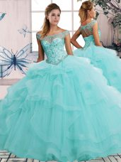Suitable Aqua Blue Ball Gowns Off The Shoulder Sleeveless Tulle Floor Length Lace Up Beading and Ruffles Sweet 16 Dresses