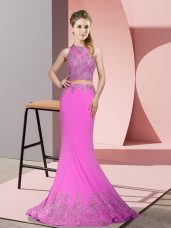 Designer Lilac Satin Zipper High-neck Sleeveless Dress for Prom Sweep Train Beading and Appliques
