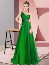 Green Sleeveless Beading Criss Cross Prom Party Dress