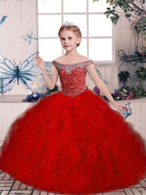 Red Off The Shoulder Neckline Beading and Ruffles Kids Formal Wear Sleeveless Lace Up