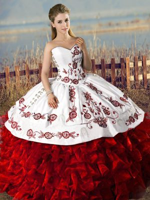Flare White And Red Sweetheart Lace Up Embroidery and Ruffles Quinceanera Gowns Sleeveless
