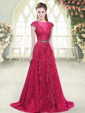 Edgy Pink A-line Tulle Scoop Cap Sleeves Beading and Lace and Appliques Zipper Casual Dresses Sweep Train
