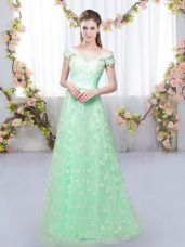 Unique Apple Green Empire Tulle Off The Shoulder Cap Sleeves Appliques Floor Length Lace Up Wedding Party Dress