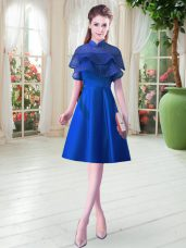 Cap Sleeves Satin Knee Length Lace Up Evening Dress in Royal Blue with Ruffled Layers