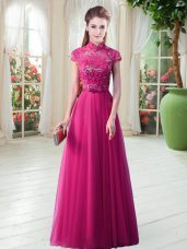 Perfect Hot Pink Empire High-neck Short Sleeves Tulle Floor Length Lace Up Lace Dress for Prom