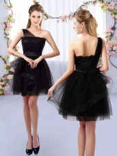 A-line Bridesmaid Dress Black One Shoulder Tulle Sleeveless Mini Length Side Zipper