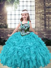 Sleeveless Floor Length Embroidery and Ruffles Lace Up Little Girl Pageant Gowns with Aqua Blue and Turquoise