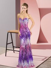 Cute Eggplant Purple Lace Up Prom Dresses Sequins Sleeveless Floor Length