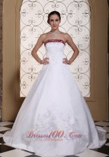 Embroidery In Satin Modest Chapel Train For 2013 Wedding Dress - Top Selling