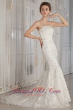 Luxurious Trumpet / Mermaid Strapless Court Train Lace Beading Wedding Dress  - Top Selling