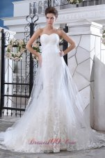 Lovely Mermaid Sweetheart Lace Wedding Dress Court Train Tulle - Top Selling