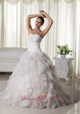 Pretty A-line Strapless Chapel Train Organza Appliques Wedding Dress