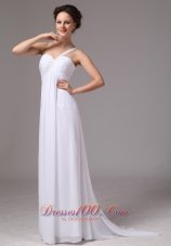 Simple One Shoulder Watteau Train Chiffon Wedding Dress For Custom Made In Decatur Georgia