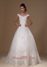 Off Shoulder A-line Appliques Tulle Church Court Train 2013 New Styles Wedding Dress For Custom Made