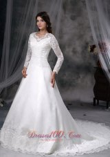 Gorgeous A-line V-neck Chapel Train Satin and Lace Wedding Dress
