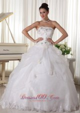 Beaded Over Up Bodice and Pick-up Ball Gown For Custom Made Bridal Gown With Strapless Organza