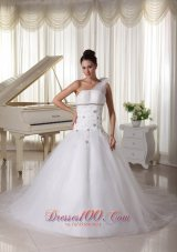 One Shoulder Wedding Gown With Appliques and Beading Tulle Watteau Train