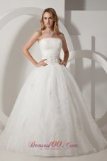 Pretty A-line Strapless Floor-length Taffeta and Organza Embroidery Wedding Dress