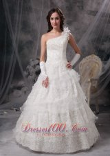 Nice A-line One Shoulder Floor-length Taffeta and Lace Wedding Dress