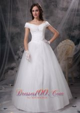 Beautiful A-line Off The Shoulder Floor-length Appliques Satin and Tulle Wedding Dress
