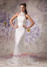 Beautiful Mermaid High Neck Lace Wedding Dress Court Train Beading