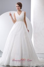 Gergeous A-line V-neck Wedding Dress Court Train Taffeta and Organza Ruch and Beading