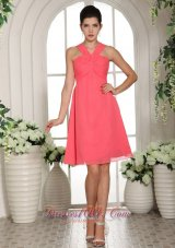 2013 Custom Made V-neck Watermelon Ruched Decorate Bust 2013 Homecoming Dress
