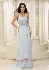 2013 Straps Ruched Bodice and Hand Made Flowers Baby Blue Bridesmaid Dress In New York