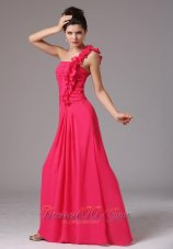 2013 Stylish Coral Red One Shoulder Ruched Decorate Bust Prom Dress With Floor-length In New Milford Connecticut