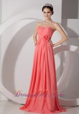 2013 The Brand New Style Watermelon Empire Sweetheart Prom Dress Chiffon Ruch and Hand Made Flowers Brush Train