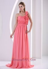 2013 Customize Watermelon Hand Made Flowers One Shoulder Prom Celebrity Dress With Ruch Bodice