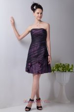 2013 Purple Column Strapless Mini-length Taffeta Hand Made Flowers Prom / Homecoming Dress