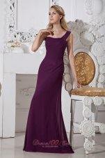 2013 Dark Purple Column One Shoulder Brush Train Chiffon Prom / Evening Dress