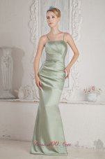 2013 Apple Green Column Straps Brush Train Satin Beading Prom Dress