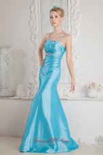 2013 Aqua Blue Junior Prom Dress Mermaid Straps Beading Brush Train Satin