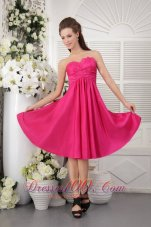2013 Discount Empire Strapless Knee-length Taffeta Rush Hot Pink Bridesmaid Dress