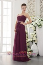 2013 Dark Purple Empire Sweetheart Floor-length Chiffon Beading and Ruch Bridesmaid Dress