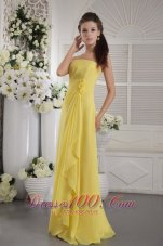 2013 Yellow Empire Strapless Floor-length Chiffon Hand Flowers Prom / Graduation Dress