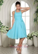 Cheap Aqua Blue Halter Sash Chiffon Dama Dresses For Quinceanera Knee-length