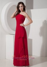 Cheap Red Empire One Shoulder Floor-length Chiffon Prom Dress