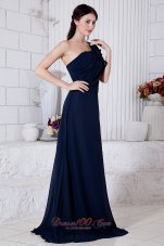 Cheap Navy Blue Empire One Shoulder Ruch Prom / Evening Dress Brush Train Chiffon