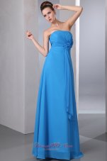 Cheap Teal Empire Strapless Hand Made Flower and Ruch Homecoming Dress Floor-length Chiffon