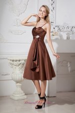 Brown A-line Spaghetti Straps Tea-length Satin and Organza Beading Prom Dress