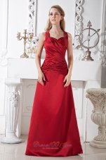 Wine Red A-line Halter Floor-length Satin Ruch Prom Dress
