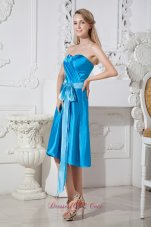 Blue Empire Sweetheart Knee-length Taffeta Ruch and Bows Prom Dress
