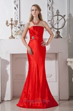 Red Column Strapless Floor-length Ruch and Beading Taffeta Prom Dress