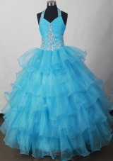 Halter Beading And Ruffled Layers For 2013 Lovely Little Girl Pageant Dresses  Pageant Dresses