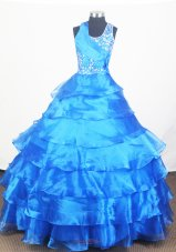 Blue Little Girl Pageant Dress With Ruffled Layers and Beading