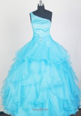 2013 Lovely Aqua Blue Little Girl Pageant Dress With Ruffles and Beading